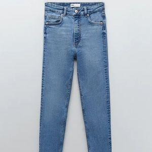 medium wash denim high rise skinny jeans from zara
